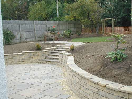 Dreghorn Garden Rear - Complete - New Walling at rear using Milldale Mountain walling blocks and copings. Fencing at back of Garden & re-planted up. Timescale: 1 Week